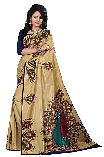 J B Fashion Silk Saree with Blouse Piece (saress for women-golden-peacock_One Size)