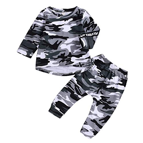 Kid Boy Girl Herbst Trainingsanzug Camoflage Langarmhemd Hosen Kleidung Anzug 5T (Color : Camo, Size : 1-2T)