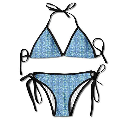 MSGDF Zig Zag Art Nouveau Bold Paisley Womens Triangle Top Bikini Swimsuit Sliding Swimwear - Paisley Triangle Bikini Top