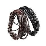 #3: Cairo Black Leather Multistrand Bracelet Combo For Men