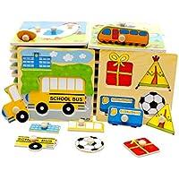 Carsge Puzzle en Bois Encastrables avec Boutons, Mon Petit Jouet pour Bébé Coloré Éducatif Créatif, Couleurs Aléatoires