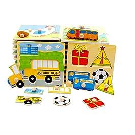 carsge Giocattolo Educativo Puzzle in Legno Colorato Animali Motivo Casuale 14.8 x 14.8cm
