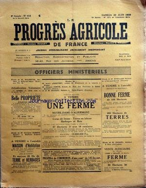 PROGRES AGRICOLE DE FRANCE (LE) [No 415] du 20/06/1959 - officiers ministeriels - paul daizac - brutus - arfeuilles - agriculture par le bret et le francois - les marches - machinisme agricole par marguerin - causerie veterinaire par espouy - elevage par auger - cuniculiculture par gallus - chasse par chaigneau - mycologie par lebois par Collectif
