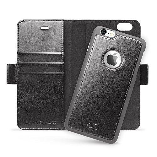 OCASE iPhone 6 Hülle, iPhone 6S Hülle [Frei gehärteter Glasschirmbeschützer inbegriffen] Leder Brieftasche Hülle für Apple iPhone 6 / 6S Geräte Schwarz