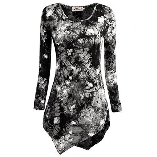 Rangeyes Donna T-Shirt Camicetta Orlare con Irregolare Tunica Maglie a Manica Lunga Girocollo Stampare Bluse Camicie Top Nero