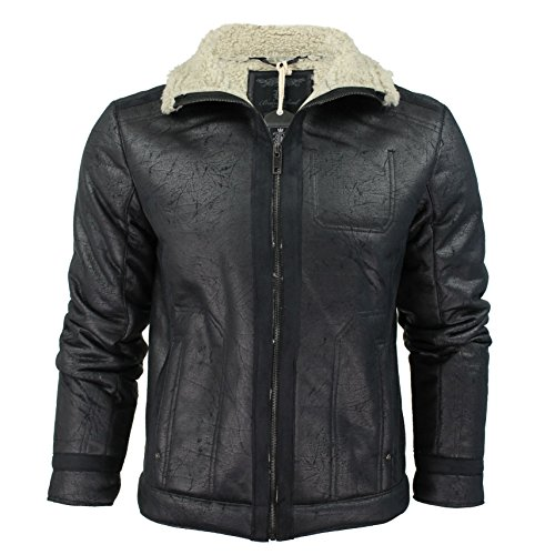 Mens Brave Soul Suede Faux Leather Vintage Aviator Sherpa Lined Jacket