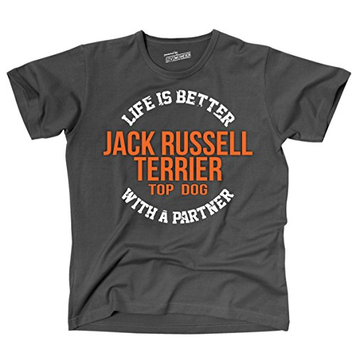 Siviwonder Unisex T-Shirt JACK RUSSELL TERRIER - LIFE IS BETTER PARTNER Hunde Dark Grey