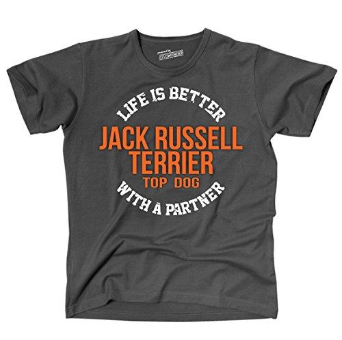 Siviwonder Unisex T-Shirt JACK RUSSELL TERRIER - LIFE IS BETTER PARTNER Hunde Dark Grey