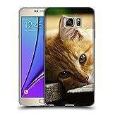 Just Phone Cases Schutz Hülle TPU Case Schutzhülle Silikon Tasche Dünn Transparent // V00004287 Katze liegend auf Holzbrettern // Samsung Galaxy Note 5 V