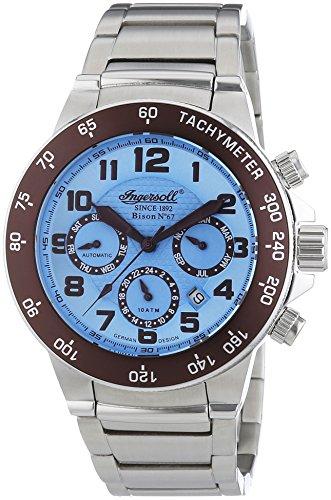 Ingersoll Herren-Armbanduhr XL Bison N0.67 Chronograph Automatik Edelstahl IN1512BLMB
