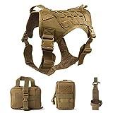 TopTie Taktisches Hundegeschirr, Verstellbare Hundeweste, Abnehmbare Molle-Taschen, Patches für mittelgroße und große Hunde
