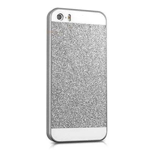 kwmobile Étui rigide Design marbre pour Apple iPhone SE / 5 / 5S en noir blanc rectangle à paillettes argenté blanc