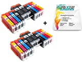 Multipack - 20 Tintenpatronen kompatibel zu CANON PGI-550 XL / CLI-551 XL mit CHIP + 10 Blatt Silvertrade Fotopapier 10x15cm - passend für CANON Pixma iP7250 iP8750 MG5450 MG5550 MG6350 MG6450 MG7150 MX725 MX925