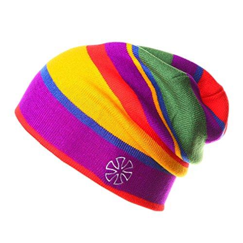 ACVIP Damen/Herren Hell Mehrfarben Regenbogen Reise Ski Acryl Beaniemütze (Farbe1)