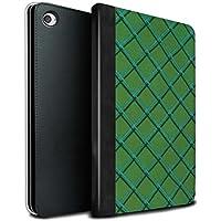 STUFF4 PU Pelle Custodia/Cover/Caso Libro per Apple iPad Mini 4 tablet / Verde / Criss cross pattern disegno