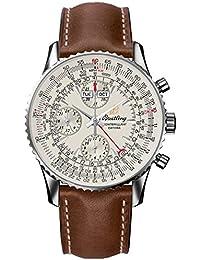 Breitling Montbrillant datora/reloj para hombre y esfera plata/caja acero/correa piel Marrón