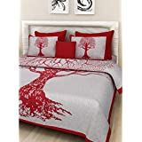 Fabsom 144 TC Tree Of Life King Size Double Bedsheet Set - 1 King Size Bedsheet, 2 Solid Pillow Covers, 2 Printed Pillow Covers, 1 Cushion Cover - Red