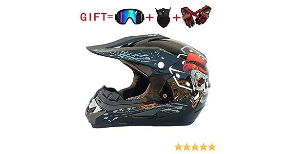 SK-LBB Casque de moto pour adulte et enfant Off-Road MX D.O.T certifi/é casque ATV Roller Road Racing Sport//cadeau lunettes Masque