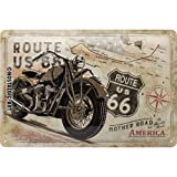 Nostalgic-Art 22279 Route 66 Bike Map  | Retro Blechschild | Vintage-Schild | Wand-Dekoration | Metall | 20x30 cm