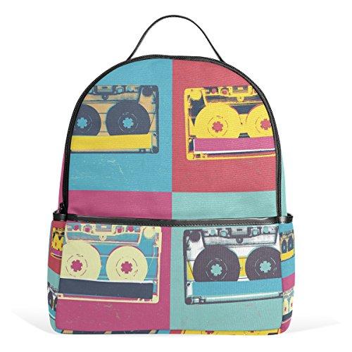 COOSUN Audio-Kassette Retro Pop-Art-Musik-Hintergrund Geringes Gewicht Leinwand-Kind-Schule-Rucksack-Buch-Tasche für Junge Mädchen Klein Mehrfarbig