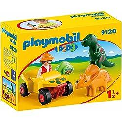 Playmobil 1.2.3-9120 Quad con 2 Dinos,, única (9120)