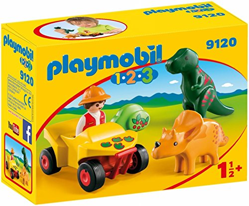 Playmobil 1.2.3-9120 Quad con 2 Dinos