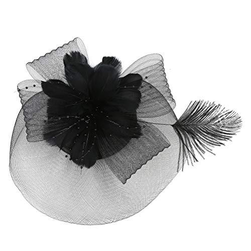 TENDYCOCO Mini Zylinder mit Blume Haarspange Feder Mesh Bogen Haarnadeln für Mädchen Dame Frauen Kostüm Zubehör (schwarz)