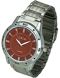 "Dice""Numbers-4219"" Casual Round Shaped Wrist Watch for Men. Fitted with Copper Color Dial and Stainless Steel Strap."