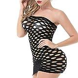 VicSec Mujer Malla Lencería Una Pieza Negro, Sexy Mini Vestido de Tubo Fishnet Babydoll Ropa Interior de Dormir Transparente Talla Única Camisa Sin Tirantes