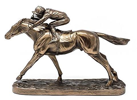 Cheval de course au galop & Sculpture Jockey–Figurine en bronze coulé à froid d'Horse Racing