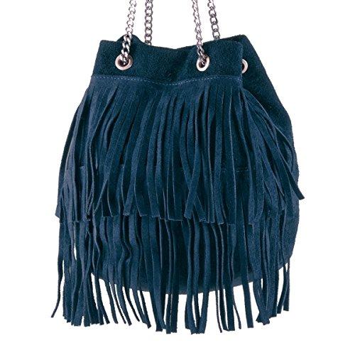 BORDERLINE - 100% Made in Italy - Bucket Bag Frauen Wildleder - VIRGINIA Blaue Nacht