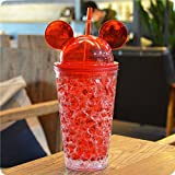 Okayji Frosty Mason Super Ice Cup Acrylic Jar With Straw Freezing Gel For Juice, Beer, Soft Drinks, Water,9 Inch(Red)