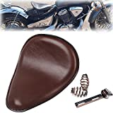 Triclicks Selle Moto Solo Marron Pour Bobber/Chopper/Sportster/Custom avec Ressorts/Support Kit