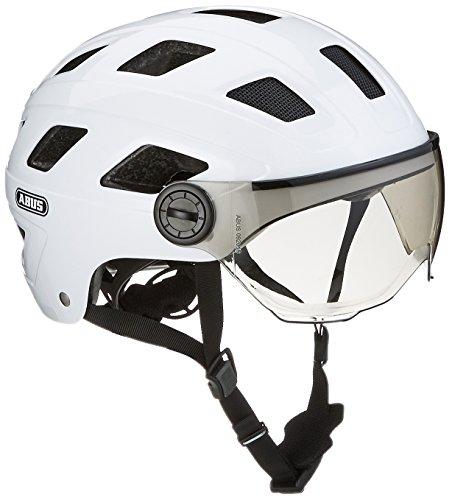 Abus Erwachsene Hyban + Fahrradhelm, White Cream-Smoke Visor, L (56-63 cm)