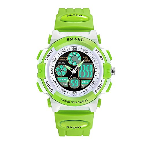 Kinder Sportuhr Wasserdicht Lumineszierend Armbanduhr für Mädchen mit Wecker Elektronik Quarz Bewegung Digitaluhr für Jungen Dual Zeit Anzeigen Kinderuhren,Grün