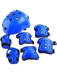 YAKOK - Juego de Casco para niños, 7 Unidades con protección para Casco de Seguridad para Bicicleta, Scooter, Patinaje para niños y niñas, 4 – 12 años de Edad, Color Azul, tamaño 55-59 cm