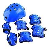 YAKOK Enfants Casque Lot, Lot de 7Enfants Casque de sécurité avec lot d'accessoires de Protection pour vélo Trottinette Skateboard Skate pour Enfant Garçons et Filles, 4-12Ans, Bleu, 55-59cm