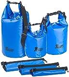 Xcase Transportbeutel: 3er-Set Wasserdichte Packsäcke aus LKW-Plane, 5/10/20 Liter, Blau (Drybag)