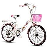 Children's bicycles CivilWeaEU- Kinderfahrräder, 6-8-10-14 Kinderwagen 20/22 Zoll Mädchen Variable Geschwindigkeit/zusammenklappbare Grundschule Damen Fahrrad (Farbe : Black Tire, Größe : 22 inches)
