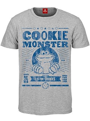 c9f6a31b0e Sesame Street Krümelmonster Vintage Poster T-shirt gris chiné XXL