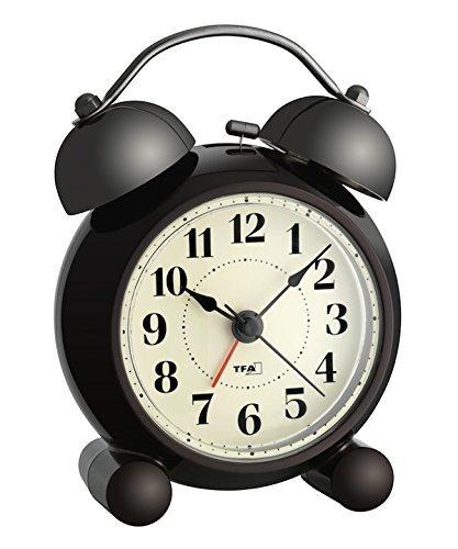 TFA 60.1014 Elektronischer Nostalgie-Wecker mit Lautlos-Uhrwerk (braun mit Batterie)
