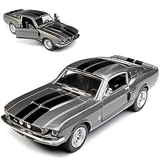 alles-meine.de GmbH Ford Mustang Shelby GT-500 1967 I 2. Generation Coupe Grau mit schwarzen Streifen ca 1/43 1/36-1/46 Kinsmart Modell Auto