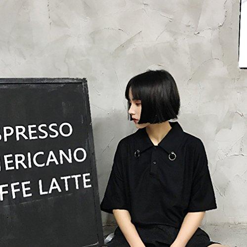 YNuth Polo T-shirt Maglietta Camicetta Collo con Anello Risvolto Manica Corta Donna Bluse Nero nero L