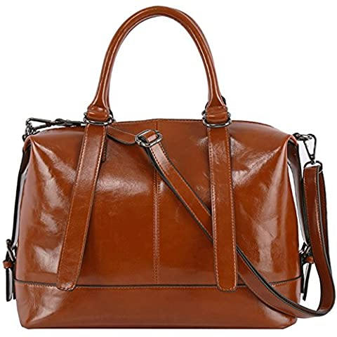 Tote Bag,SPSHENG Leather Handbags Fashion Work Designer Ladies Shoulder Handbag Brown