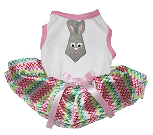 Petitebelle Pet Supply Easter Bunny Tie White Cotton Shirt Chevron Tutu ()
