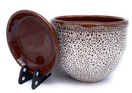 Sun Cakes Keramik Pflanztopf glasiert mit Untersetzer rund Terra mit Untersetzer Blumentopf Blumentopf Ton farbig Blumentopf Meeresschaum, braun, 23cm x 17cm