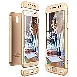 ToDo Funda para Samsung Galaxy J5 2017 (J530),3 en 1 Ultra Delgado 360 Grados Protectora PC Duro Case Cover Silicona Snap On Diseño Choque Absorción Carcasa para Samsung Galaxy J5 2017 (J530),Oro