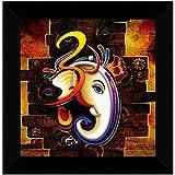 SAF Ganesha UV Coated Home Decorative Gift Item Framed Painting 12 inch X 12 inch SANFO89