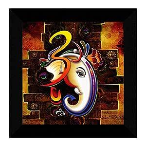 SAF Ganesha UV Coated Home Decorative Gift Item Frame Painting 12 inch X 12 inch SANFO89