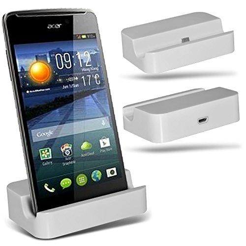 ( White ) Huawei Ascend Y540 Hülle Abdeckung Cover Case schutzhülle Tasche Custom Made Micro-USB-Desktop Charging Dock Mount Stand von ONX3®